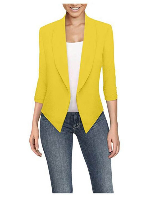 Yellow Long sleeve solid color cardigan irregular hem small suit women
