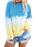 Bule Rainbow gradient print long-sleeved sweatshirt