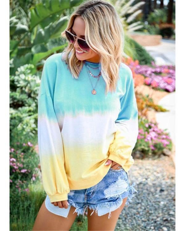 Light bule Rainbow gradient print long-sleeved sweatshirt