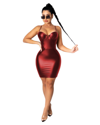 Red Sexy V-neck strap zip dress