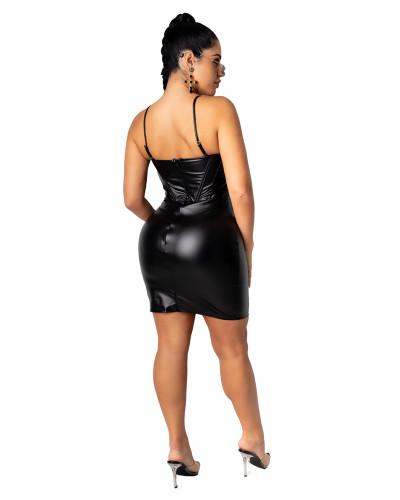 Black Sexy V-neck strap zip dress