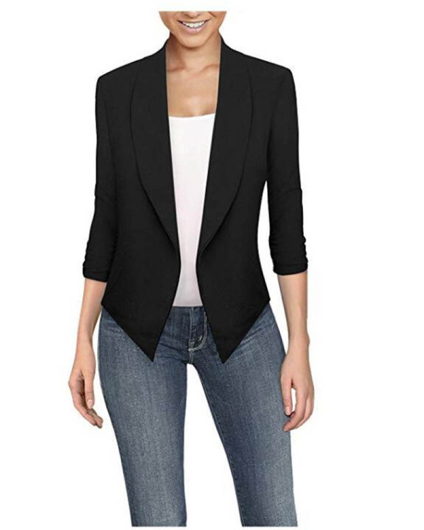 Black  Long sleeve solid color cardigan irregular hem small suit women