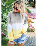 Rainbow gradient print long-sleeved sweatshirt