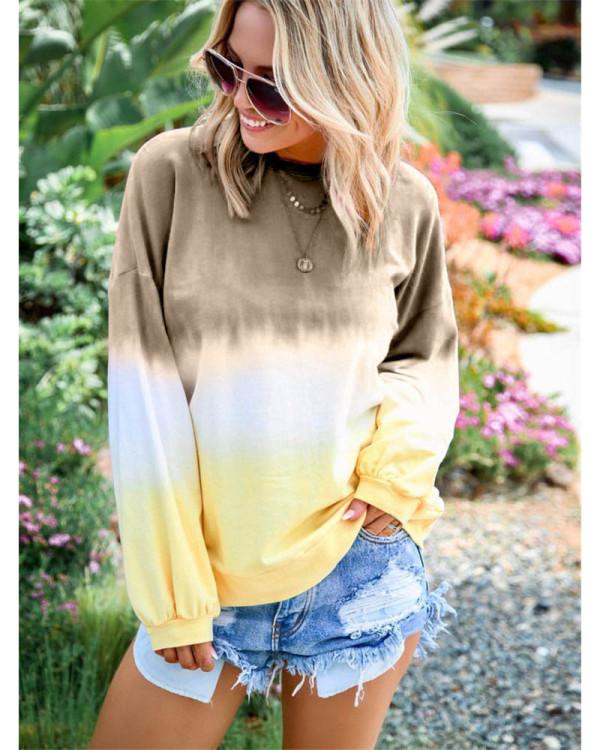 Khaki Rainbow gradient print long-sleeved sweatshirt