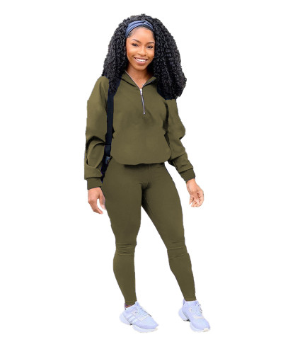 Green Pure color zipper leisure sports two-piece suit