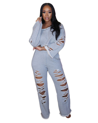 Gray Ripped off shoulder loose long sleeve casual suit