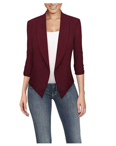 Claret  Long sleeve solid color cardigan irregular hem small suit women