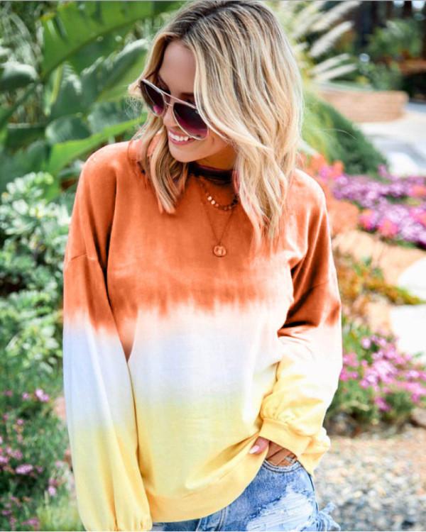 Orange Rainbow gradient print long-sleeved sweatshirt