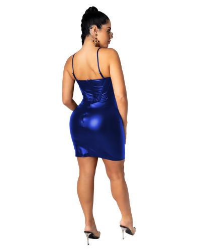 Blue Sexy V-neck strap zip dress