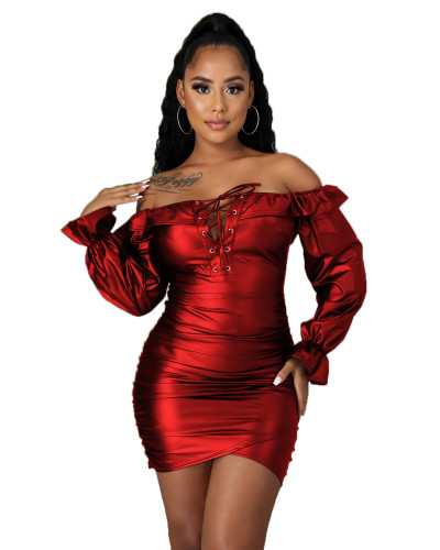 Red One shoulder tube top slim slimming PU leather dress
