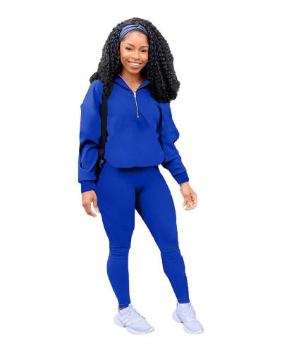 Blue Pure color zipper leisure sports two-piece suit