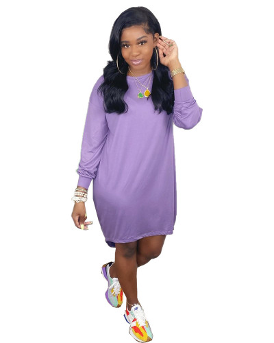 Purple Pure color loose casual T-shirt skirt