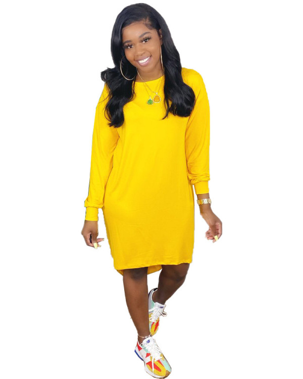 Yellow Pure color loose casual T-shirt skirt