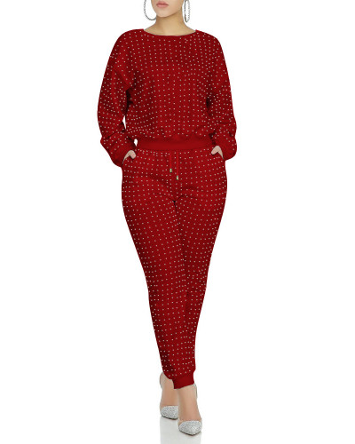 Red Full body front and back hot drilling classic multicolor suit
