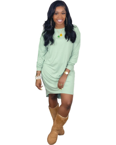 Green Pure color loose casual T-shirt skirt