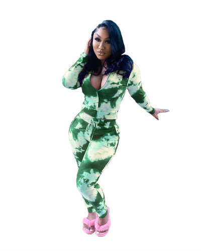 Green Two-piece tie-dye printing casual zipper set
