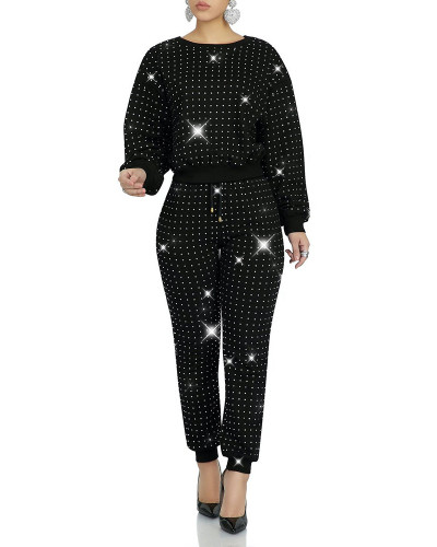Black Full body front and back hot drilling classic multicolor suit