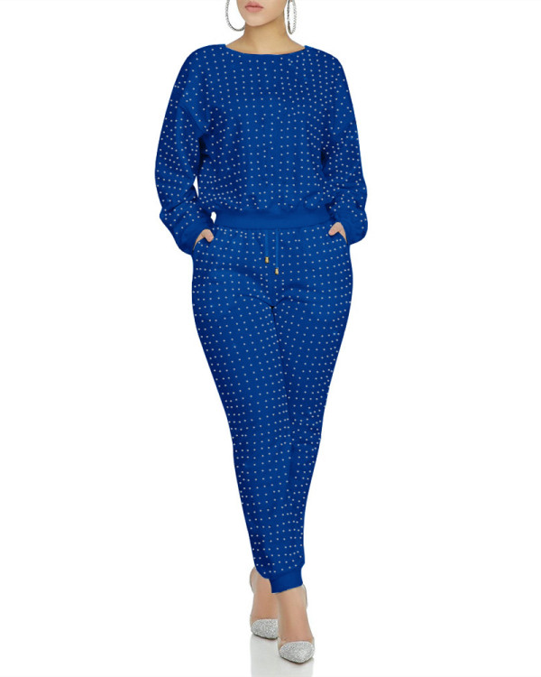 Blue Full body front and back hot drilling classic multicolor suit