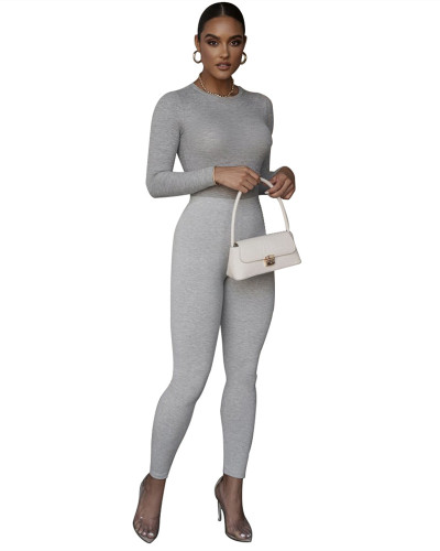 Gray New sexy slim-fit ribbed leggings