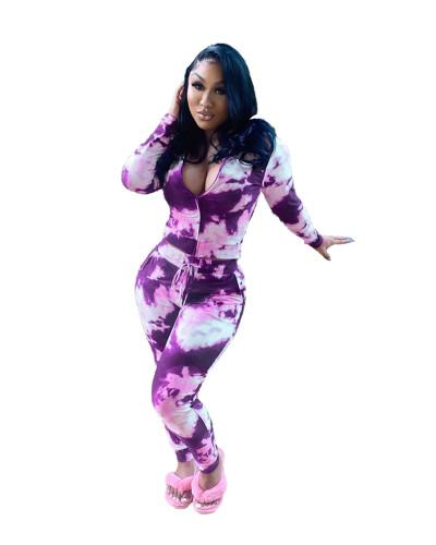 Purple Two-piece tie-dye printing casual zipper set