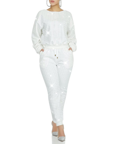 White Full body front and back hot drilling classic multicolor suit