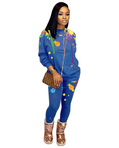 Blue Printed casual loose long two-piece suit