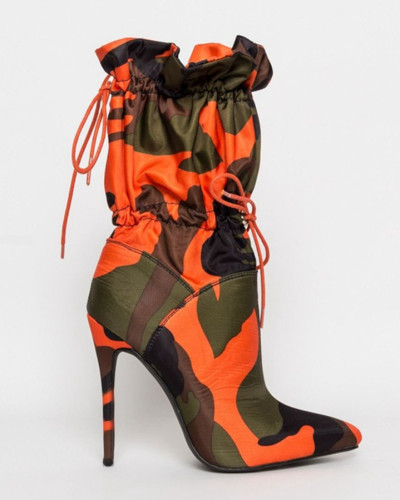 Orange Mid-tube high heel pointed boots