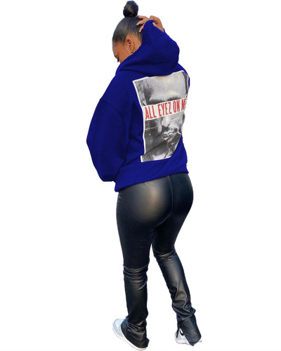 Blue Trendy pullover round neck hooded sweater top