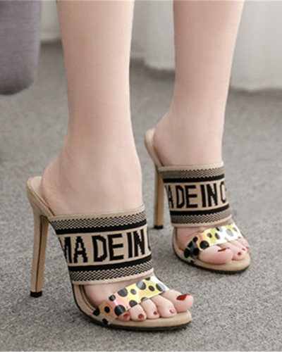 Apricot Color block stiletto high heel sandals and slippers