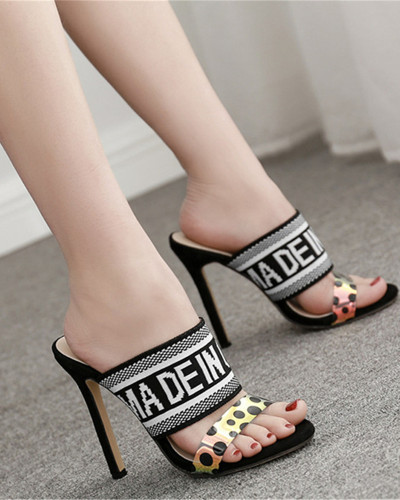 Black Color block stiletto high heel sandals and slippers