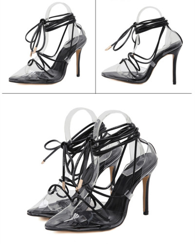 Black Cross strap pointed shallow mouth lace slim super high heel ladies sandals