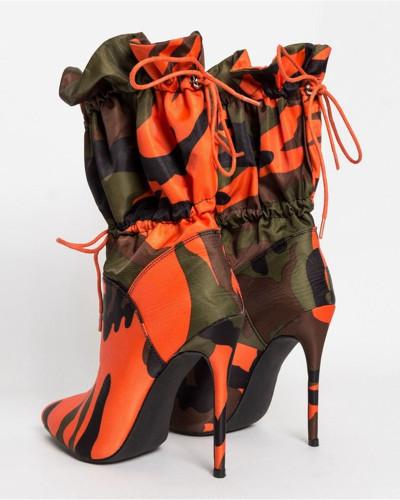Orange Mid-tube high heel pointed boots