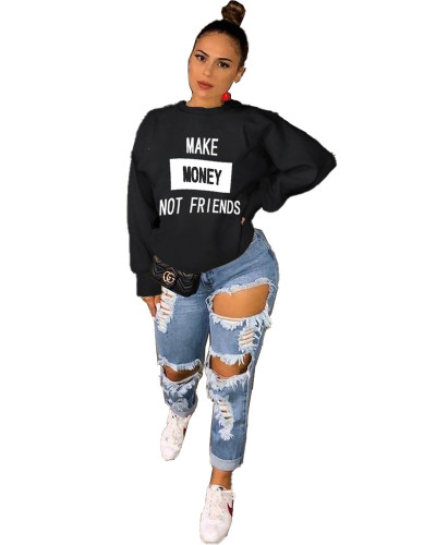 Black Fashion letter printing casual round neck sweater