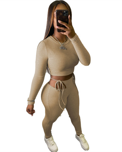 Khaki Hanging striped sexy slim top tie trousers two-piece suit