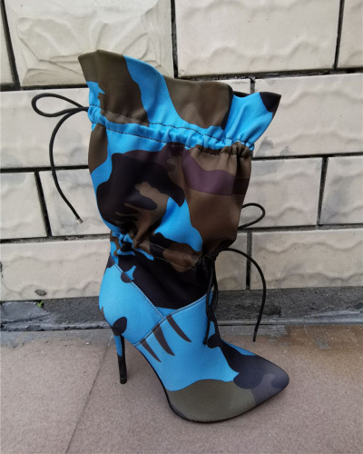 Blue Mid-tube high heel pointed boots