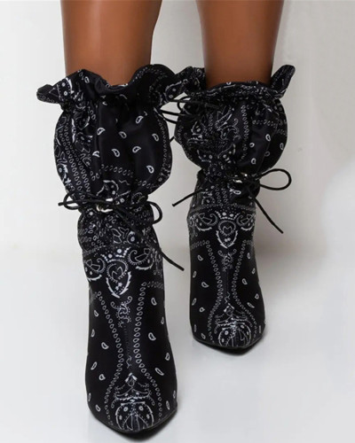 Black Mid-tube high heel pointed boots