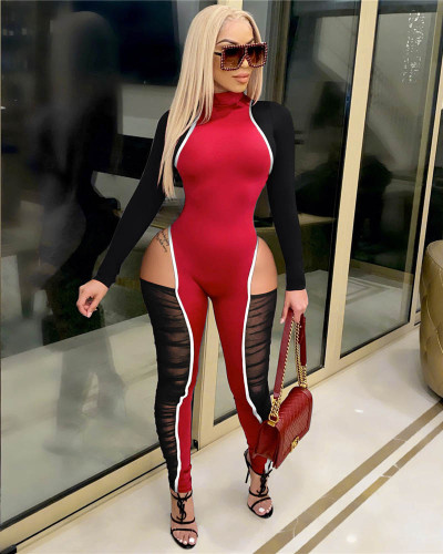Red Contrasting color stitching highlights stylish jumpsuits