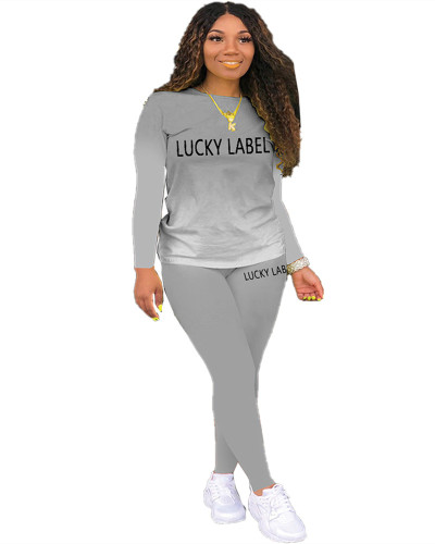 Gray Letter print gradient long sleeve two-piece suit