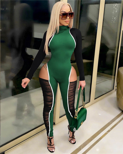 Green Contrasting color stitching highlights stylish jumpsuits