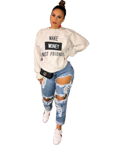 White Fashion letter printing casual round neck sweater