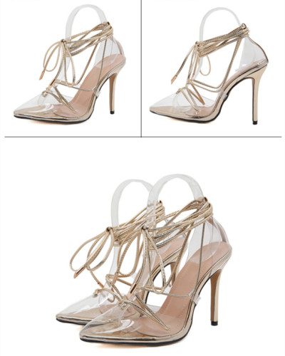 Gold Cross strap pointed shallow mouth lace slim super high heel ladies sandals
