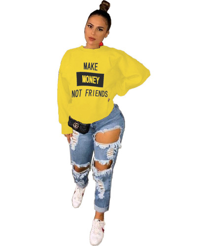 Yellow Fashion letter printing casual round neck sweater