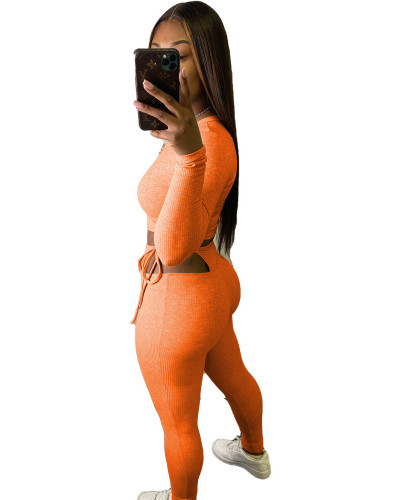 Orange Hanging striped sexy slim top tie trousers two-piece suit