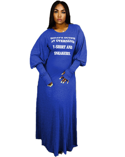 Blue Fashion letter print dress