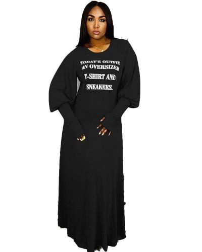 Black Fashion letter print dress