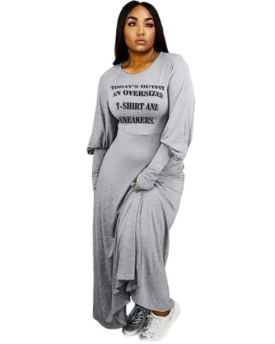 Gray Fashion letter print dress
