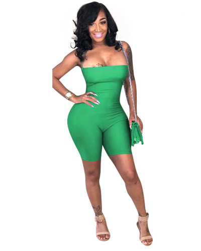 Green Open back strappy skinny jumpsuit
