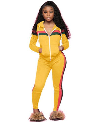 Yellow Spliced leisure sports two-piece set with hood
