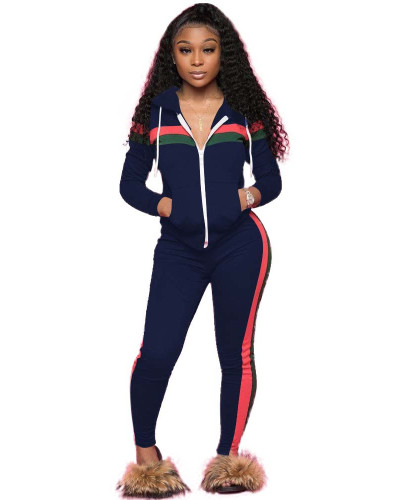Green Spliced leisure sports two-piece set with hood