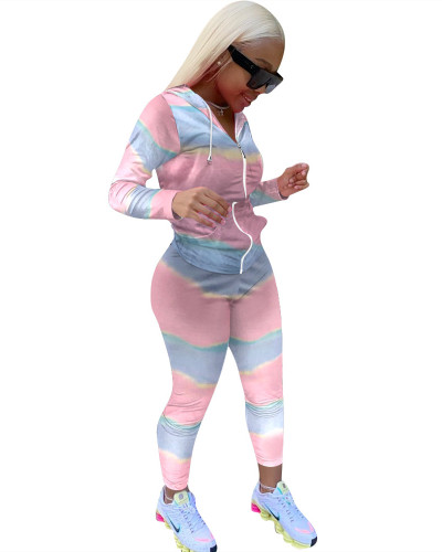 Pink Gradient color long sleeve sports suit two-piece